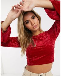 Ivyrevel - Velvet Crop Top With Flared Sleeves - Lyst