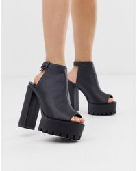 Public Desire - Jada Black Chunky Shoe Boots - Lyst