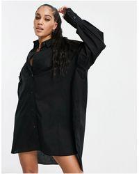 Threadbare Oversized Balloon Sleeve Shirt Dress - Black