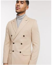 ASOS Super Skinny Double Breasted Blazer - Natural