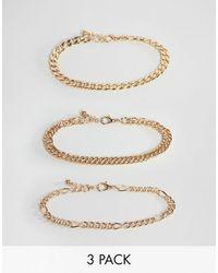 ASOS – Packung goldfarbiger Armbandketten im Vintagedesign - Mettallic