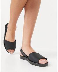 London Rebel Slingback Jelly Flat Sandals - Black