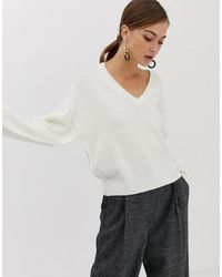 ASOS Fluffy Sweater With V Neck - Multicolour