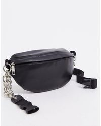 ASOS Pu Fanny Pack With Chunky Chain - Black