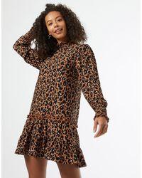 Miss Selfridge High Neck Smock Dress - Brown