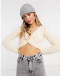 Threadbare Sasha - maglione corto soffice con incrocio sul davanti - Rosa