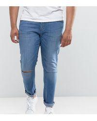 Jacamo Plus Skinny Jean With Rip Knee In Blue