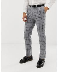 ASOS Skinny Suit Trousers In Grey Wool Mix Windowpane Check - Gray