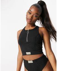 Missguided Msgd Crop Vest With Half Zip - Black