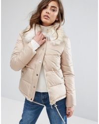 Miss Selfridge Faux Fur Collar Quilted Padded Jacket - Natural