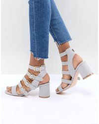 72d6903825e Faith Lizzie Rose Gold Strappy Heeled Sandals in Metallic - Lyst