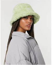 ASOS Borg Roll Back Bucket Hat - Green