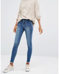 First & I - Skinny Frayed Hem Jeans - Lyst
