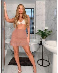 Naanaa High Waisted Pleated Hem Skirt - Pink