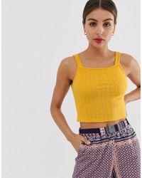 Glamorous Pointelle Cami Top - Yellow