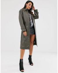 ASOS Trench-coat en imitation cuir - Kaki - Vert