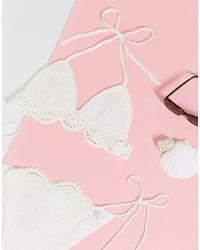 Missguided Scallop Crochet Halter Neck Bikini Top - White