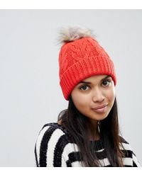 Oasis - Cable Knit Beanie With Fur Pomp Om In Orange - Lyst