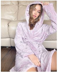 ASOS Holographic Star Cuddle Fleece Mini Robe - Purple
