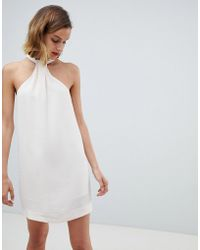 Mango - Halter Neck Shift Dress In Cream - Lyst