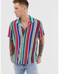 ASOS Ruimvallend Overhemd Met Regenboogstrepen - Rood