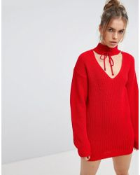 Glamorous - Relaxed Jumper With Cut Out Collar And Tie Cuffs - Lyst