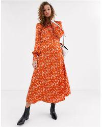 Ghost Lyn Satin Printed Satin Midi Dress-red - Multicolour