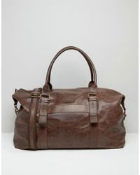 Barneys Originals - Barneys Leather Explorer Holdall In Brown - Lyst