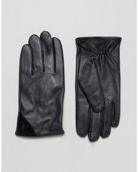 Barneys Originals - Barneys Navy Leather With Contrast Black Suede Trim Gloves - Lyst
