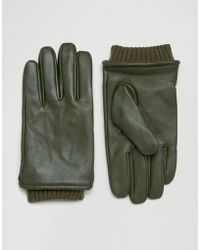 Barneys Originals - Barneys Khaki Leather Gloves With Cuff Details - Lyst