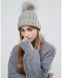 Miss Selfridge - Embellished Faux Fur Pom Beanie Hat - Lyst