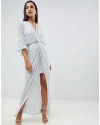 ASOS – Vorn geknotetes Maxikleid im Kimono-Stil mit Pailletten-Verzierung - Grün