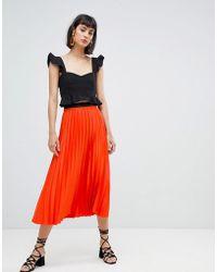 Mango - Pleat Midi Skirt In Orange - Lyst