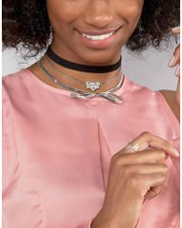 New Look - Multi Row Bow Choker Necklace - Lyst
