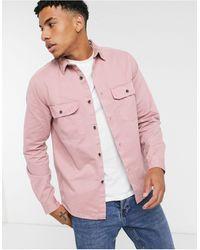 ASOS - Розовая Рубашка Навыпуск С Вельветовым Воротником - Lyst