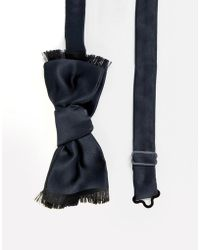 ASOS Satin Bow Tie With Edge Detail - Black