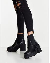 Truffle Collection Черные Ботинки Челси На Массивном Каблуке -черный Цвет