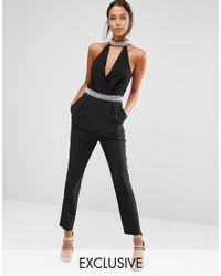 TFNC London High Neck Plunge Jumpsuit With Embellished Trim - Black