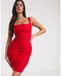 Vesper Красное Платье-футляр С Квадратным Вырезом -красный