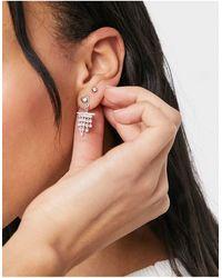 True Decadence Stud Earrings With Diamante Tassel - Metallic