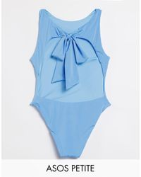 ASOS Asos Design Petite Tie Back High-neck Swimsuit - Blue