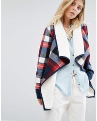 Abercrombie & Fitch   Check Wrap Over Jacket With Borg Lining - Red   Lyst