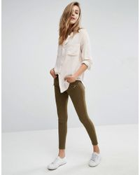 Abercrombie & Fitch - Low Rise Skinny Trousers With Zips - Green - Lyst