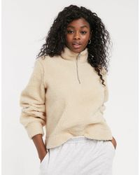 Pieces Borg Sweater With Half Zip - Natural