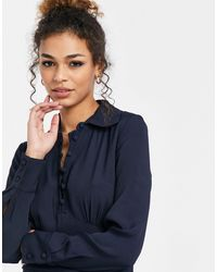 Ghost Claudette Dress With Long Sleeves And Side Split - Blue
