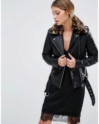 New Look - Leather Look Biker Jacket Leopard Print Collar - Lyst