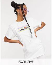 Ellesse T-shirt With Pastel Rainbow Box Logo - White