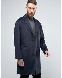 Original Penguin - Penguin Formal Navy Textured Check Overcoat - Lyst