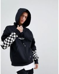 Sixth June - Oversized Hoodie In Black With Checkerboard Sleeves - Lyst