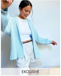 Collusion Chunky Cardigan Co-ord - Blue